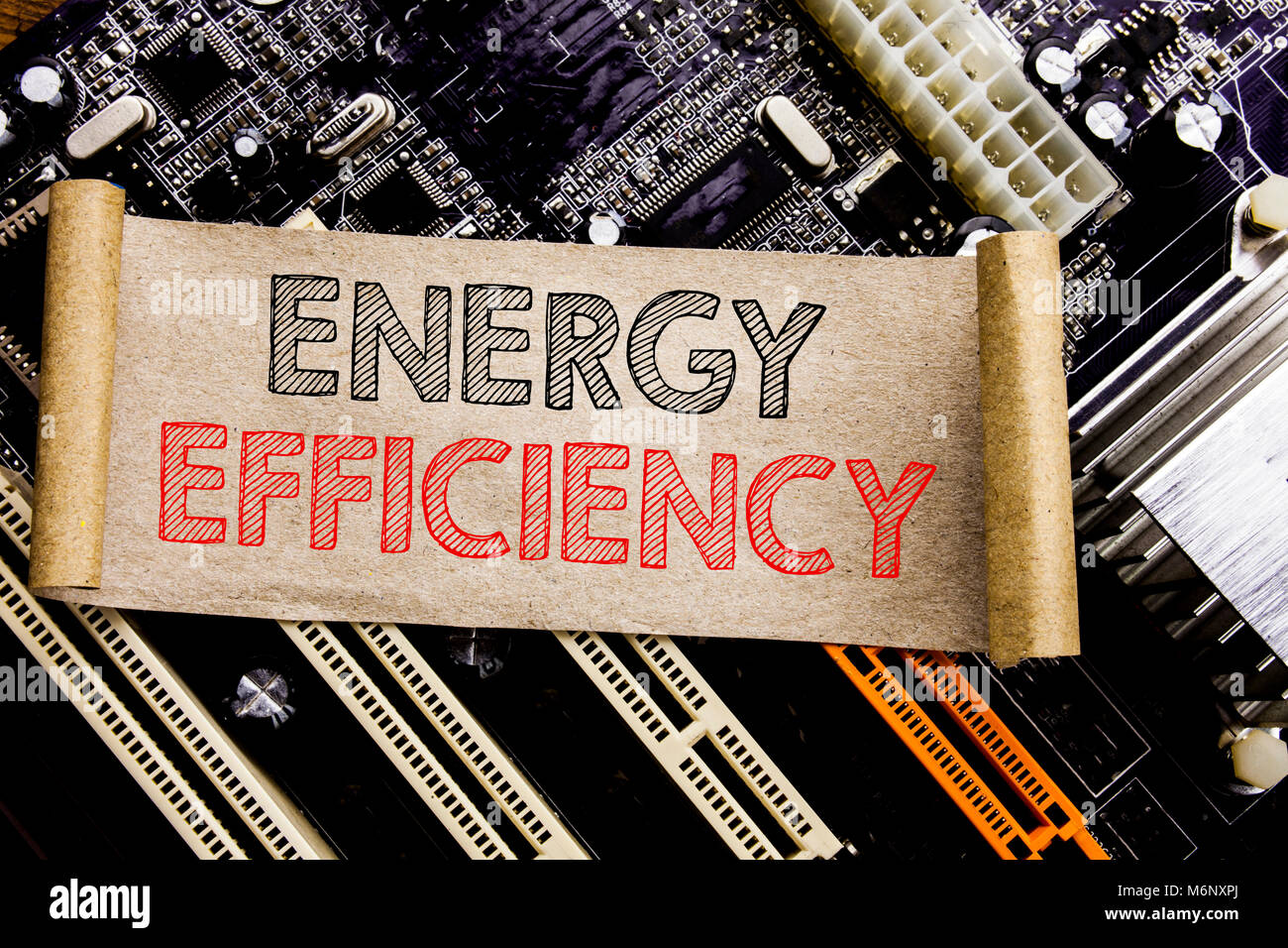 La scrittura di un testo che mostra l'efficienza energetica. Il concetto di business per l'elettricità Immagini Stock