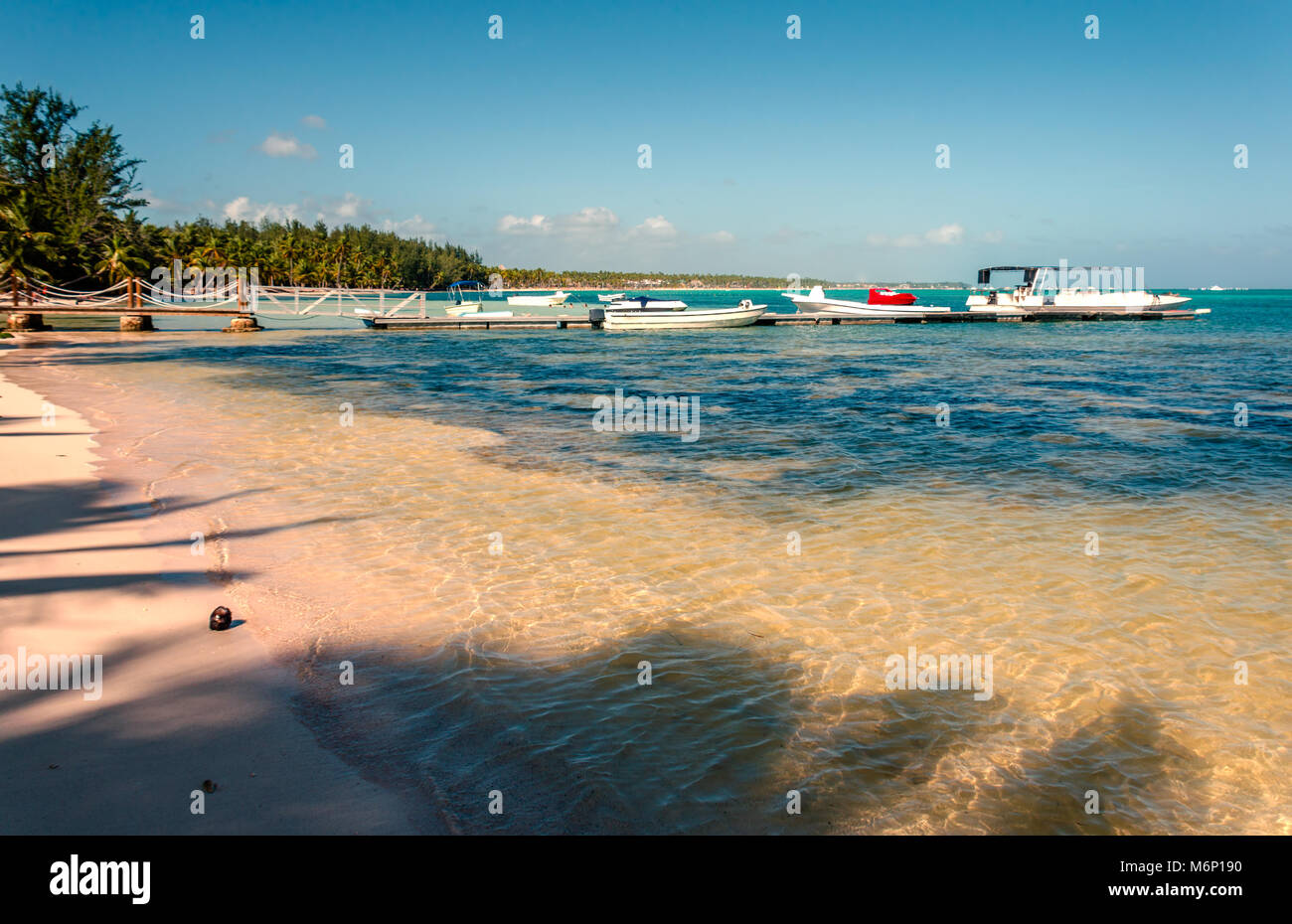 Una spiaggia tropicale con chiare acque oceaniche, noce di cocco sul pesce persico, un molo con barche e yacht, Immagini Stock