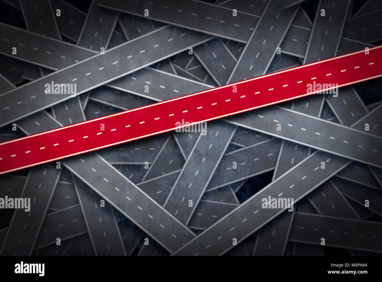 Percorso al concetto di successo e seguire il percorso giusto idea come un gruppo di strade e un percorso rosso Foto Stock
