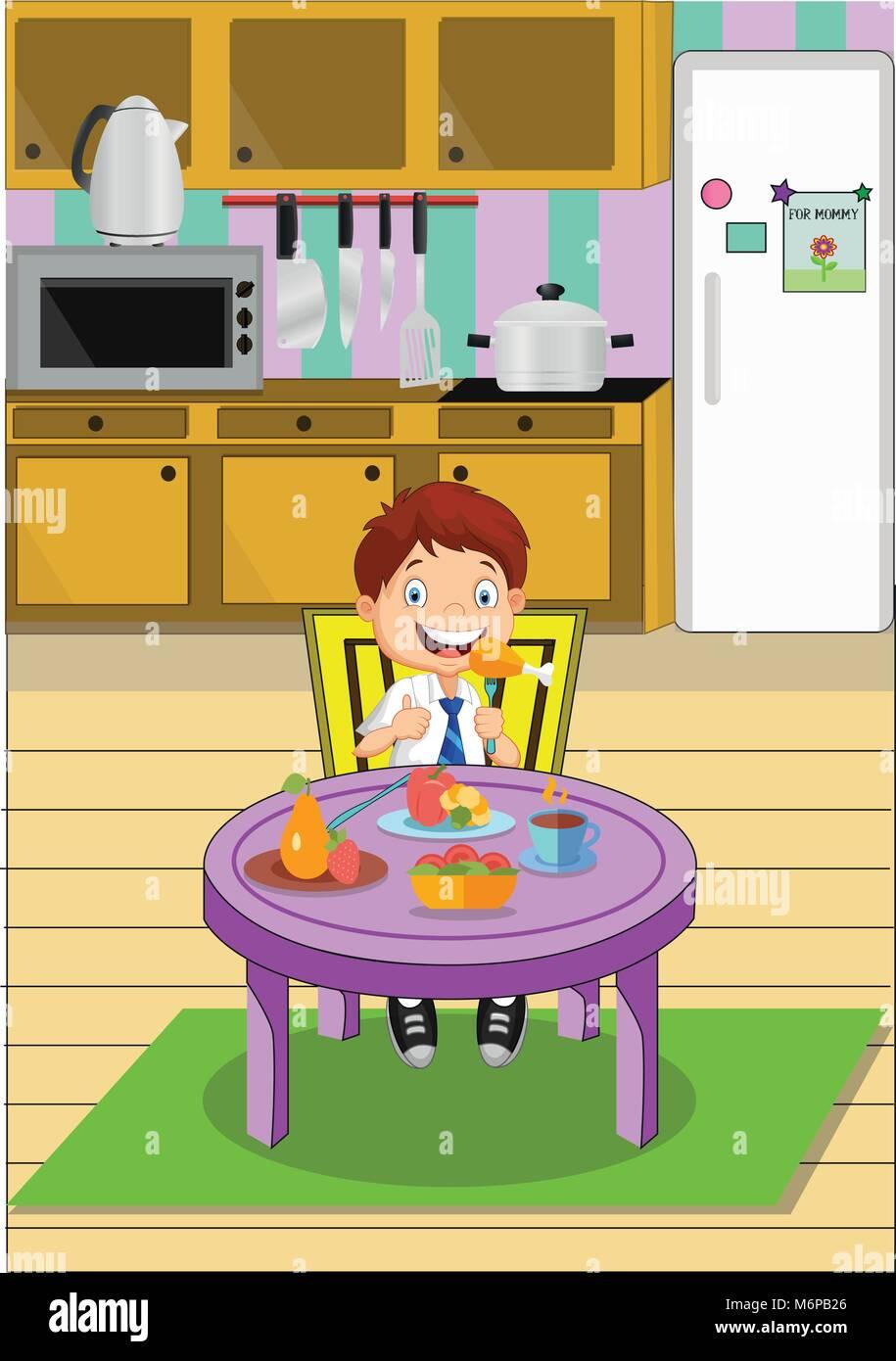 Cartoon Ragazzo Scuola Di Mangiare Il Pranzo Seduti Al Tavolo Da Cucina Illustrazione Vettoriale Immagine E Vettoriale Alamy