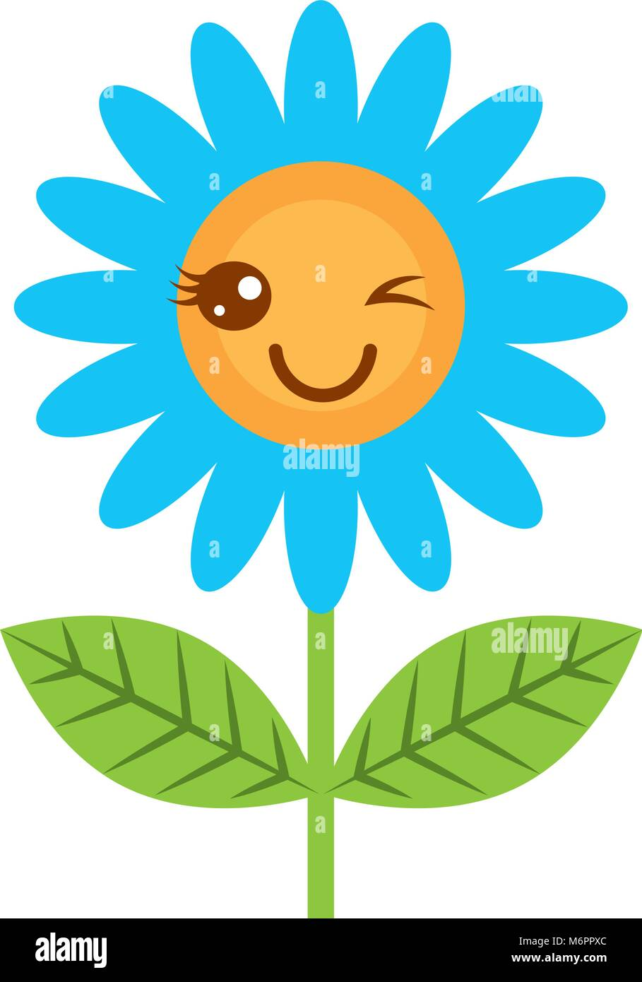 841cb7e318 Carino wink kawaii decorazioni di fiori cartoon illustrazione vettoriale  Immagini Stock