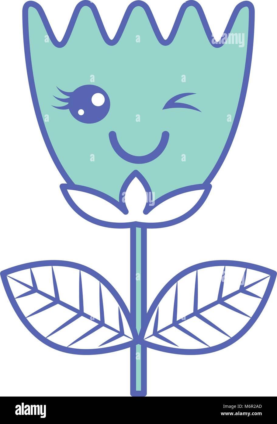 3e818b04fb Kawaii wink fiore foglie tulip cartoon illustrazione vettoriale verde  immagine pastello