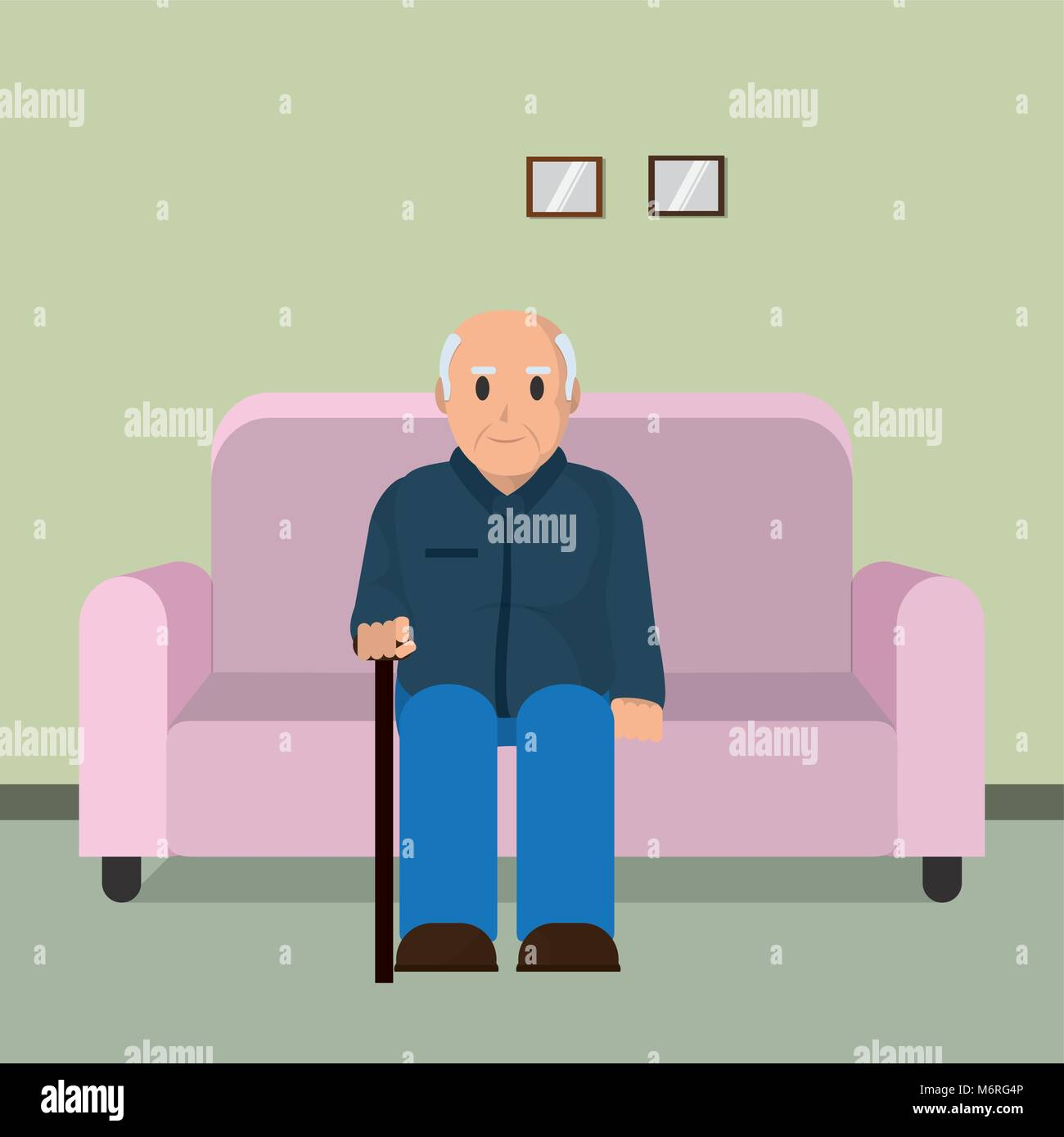 Nonno In Poltrona.Nonno Seduti Sulla Poltrona Illustrazione Vettoriale