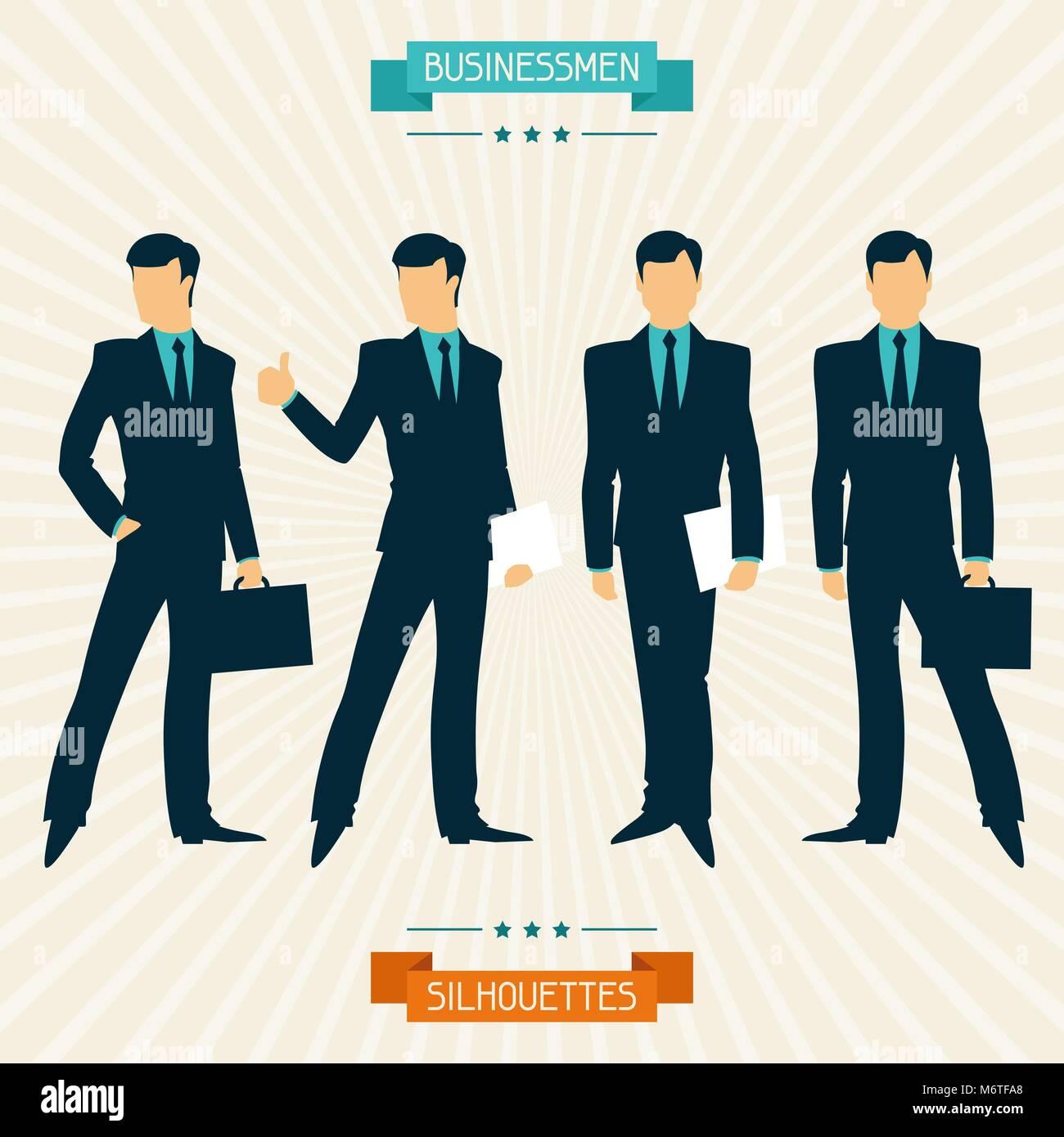 Sagome di uomini di affari in stile rétro Immagini Stock