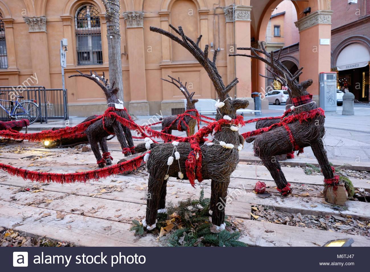 Natale a bologna, vimini renne Immagini Stock