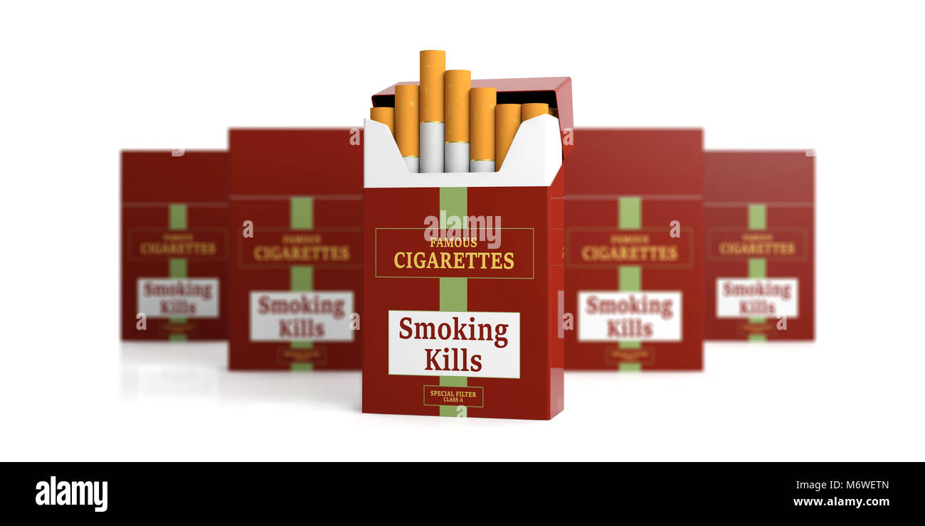 Nome della marca di pacchetti di sigarette, pacchetti di sfocatura e sfondo bianco. Il fumo uccide etichetta. 3d Immagini Stock