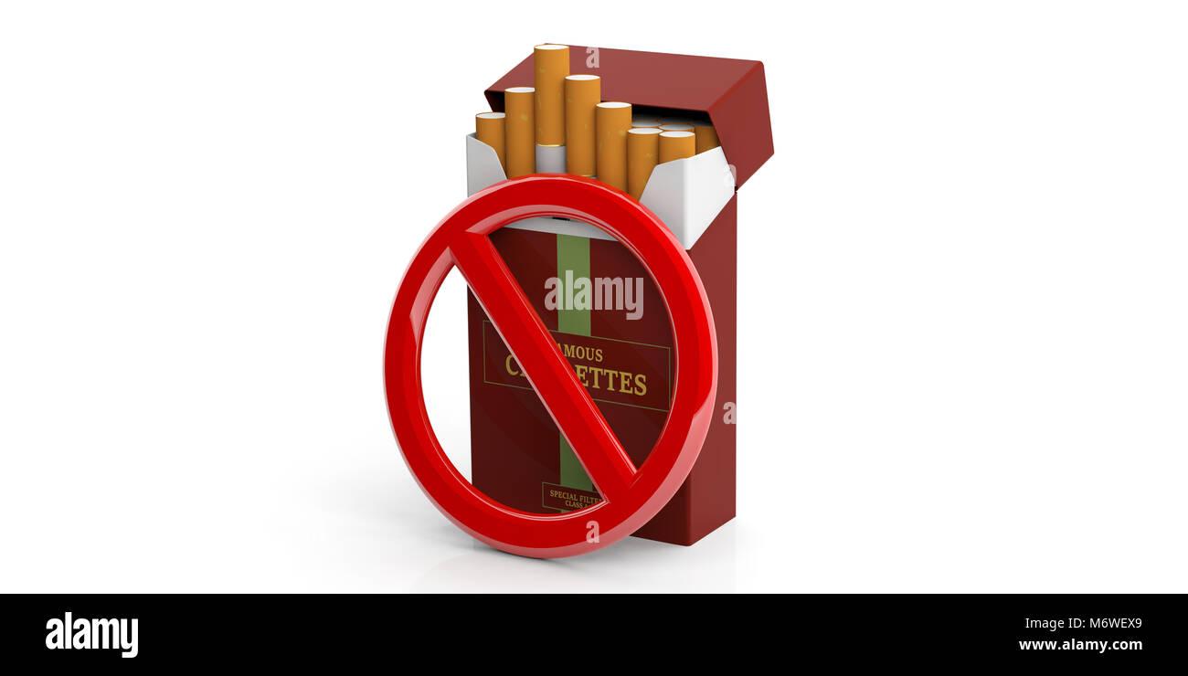 Vietato fumare e rosso di Marca il pacchetto di sigarette isolato su sfondo bianco. 3d illustrazione Immagini Stock