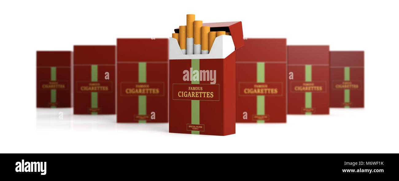 Il fumo. Nome della marca pacchetto di sigarette e pacchetti di sfocatura isolati su sfondo bianco, banner. 3d illustrazione Immagini Stock
