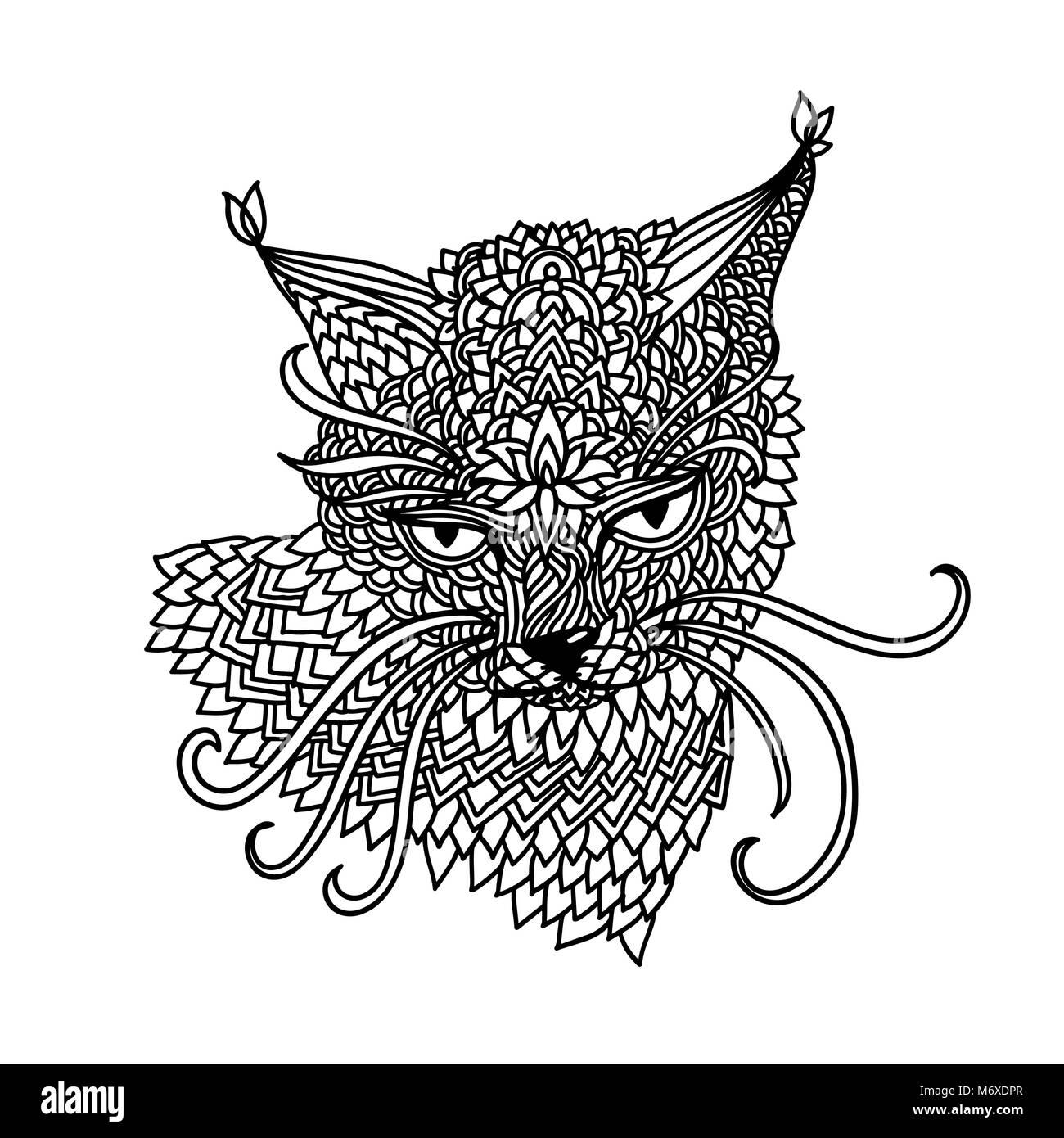 Gatto Nel Mandala Pattern Style Zentagle Nero E Sfondo Bianco