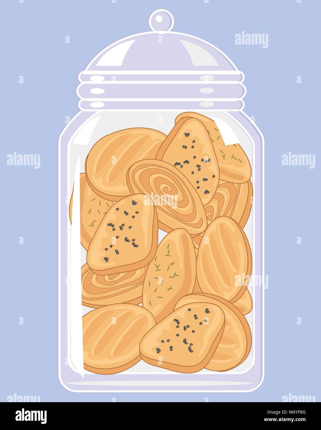 Una illustrazione vettoriale in formato eps formato 10 di un chiaro il vasetto di vetro di piccolo biscotti speziati Immagini Stock