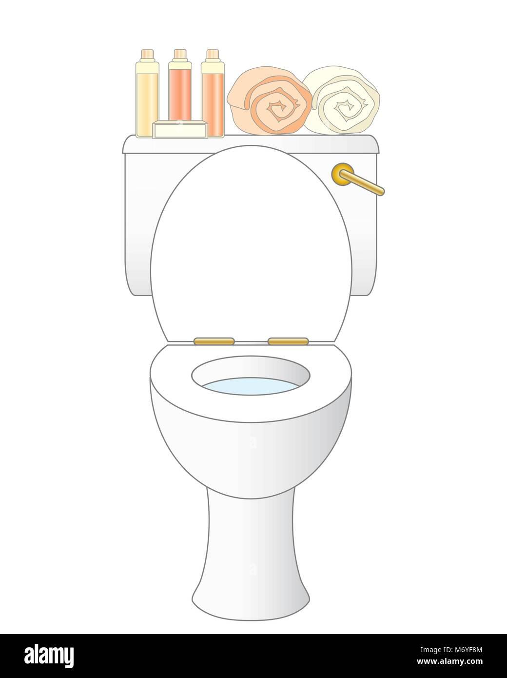 Una illustrazione vettoriale in formato eps 10 formato di un bianco pulito Bagno con articoli da bagno e asciugamani Immagini Stock