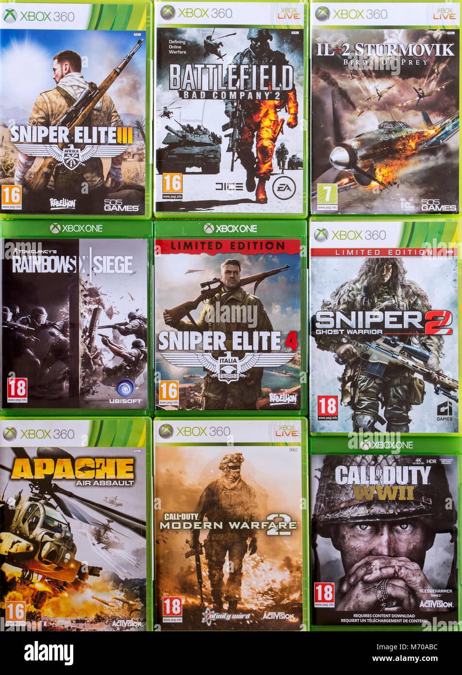 Collezione di violenti in prima persona sparatutto video giochi per Xbox 360 e Xbox uno Immagini Stock