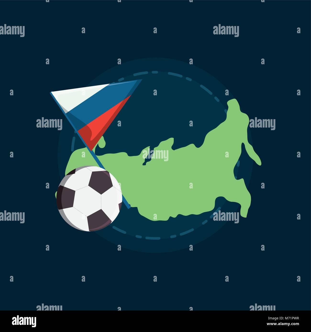 Bandiera Russa E La Mappa Con Pallone Da Calcio Su Sfondo Blu