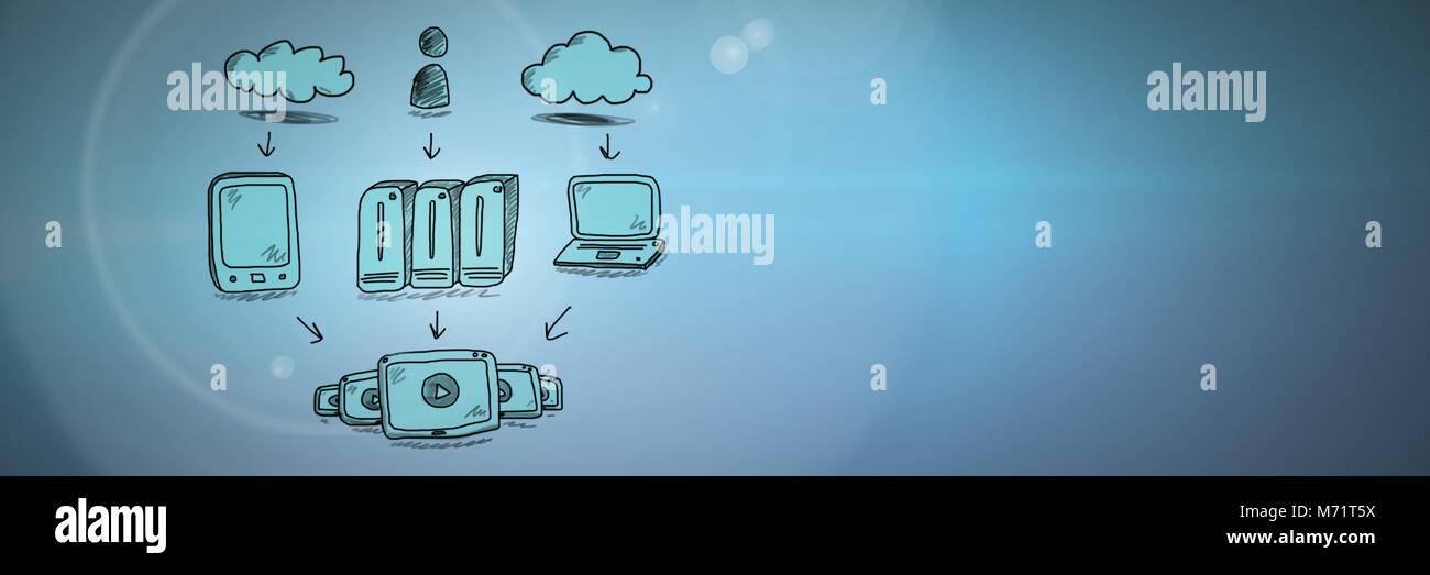 Server di rete scarabocchi di disegno Immagini Stock