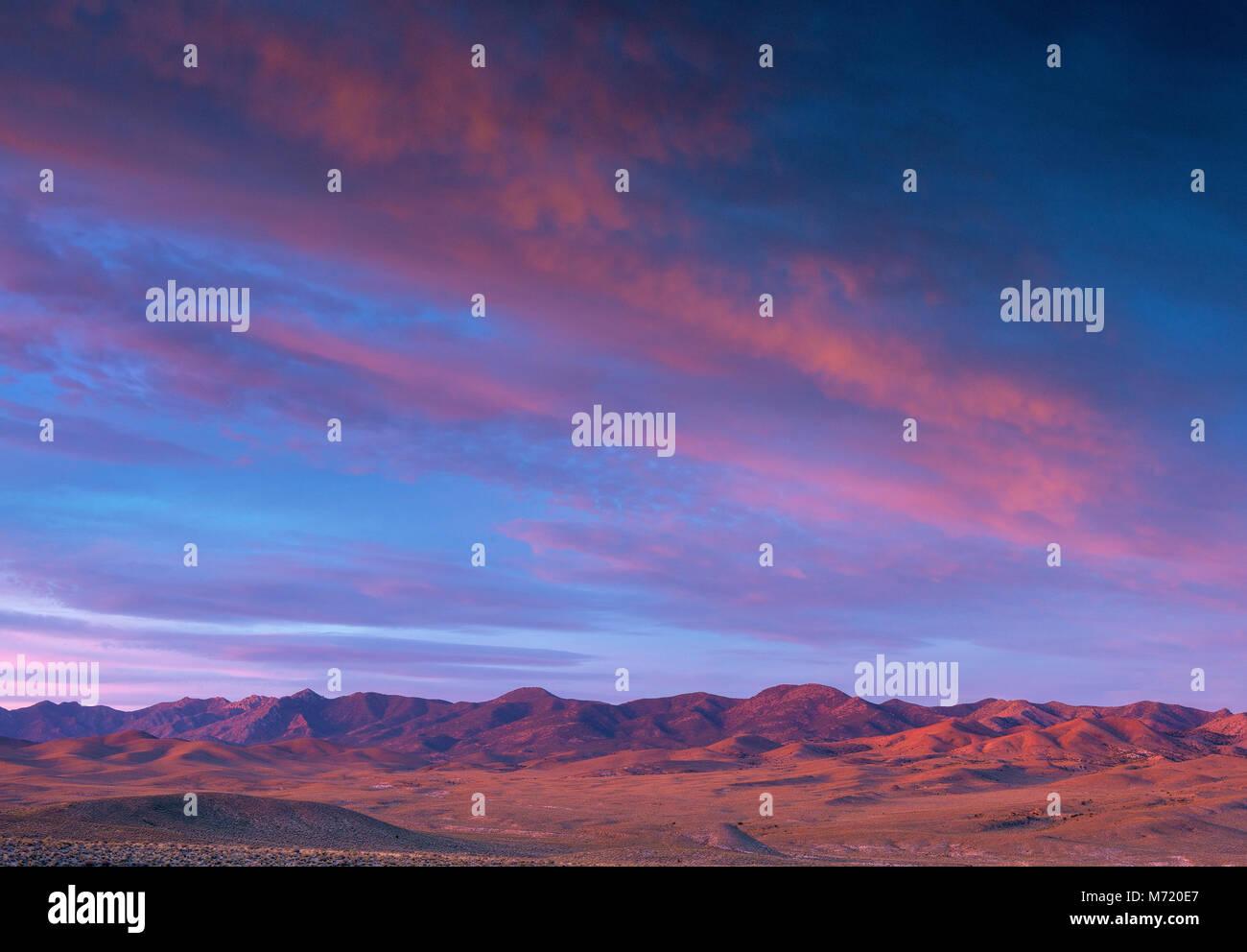 Dawn, Coyote vertice, Timpahute Range, Nevada Immagini Stock