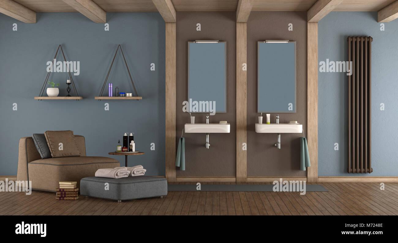 Bagno Marrone Moderno : Blu e marrone moderno bagno con lavabo doppio e poltrona d