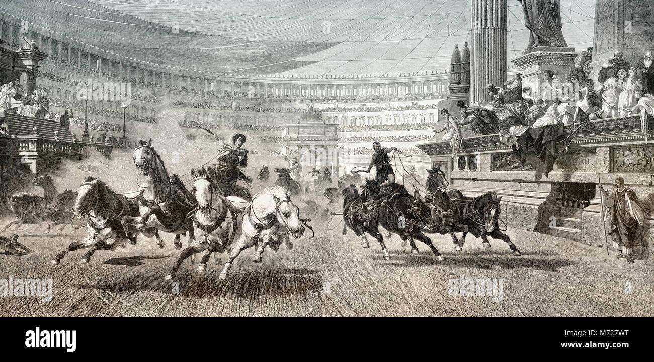 Carro racer al Circo Massimo nella Roma antica Immagini Stock
