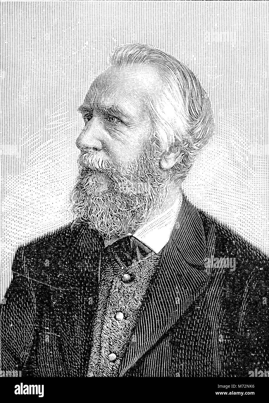 Vintage ritratto inciso di Ernst Haeckel, naturalista tedesco e artista, famoso per le sue illustrazioni multicolore Immagini Stock