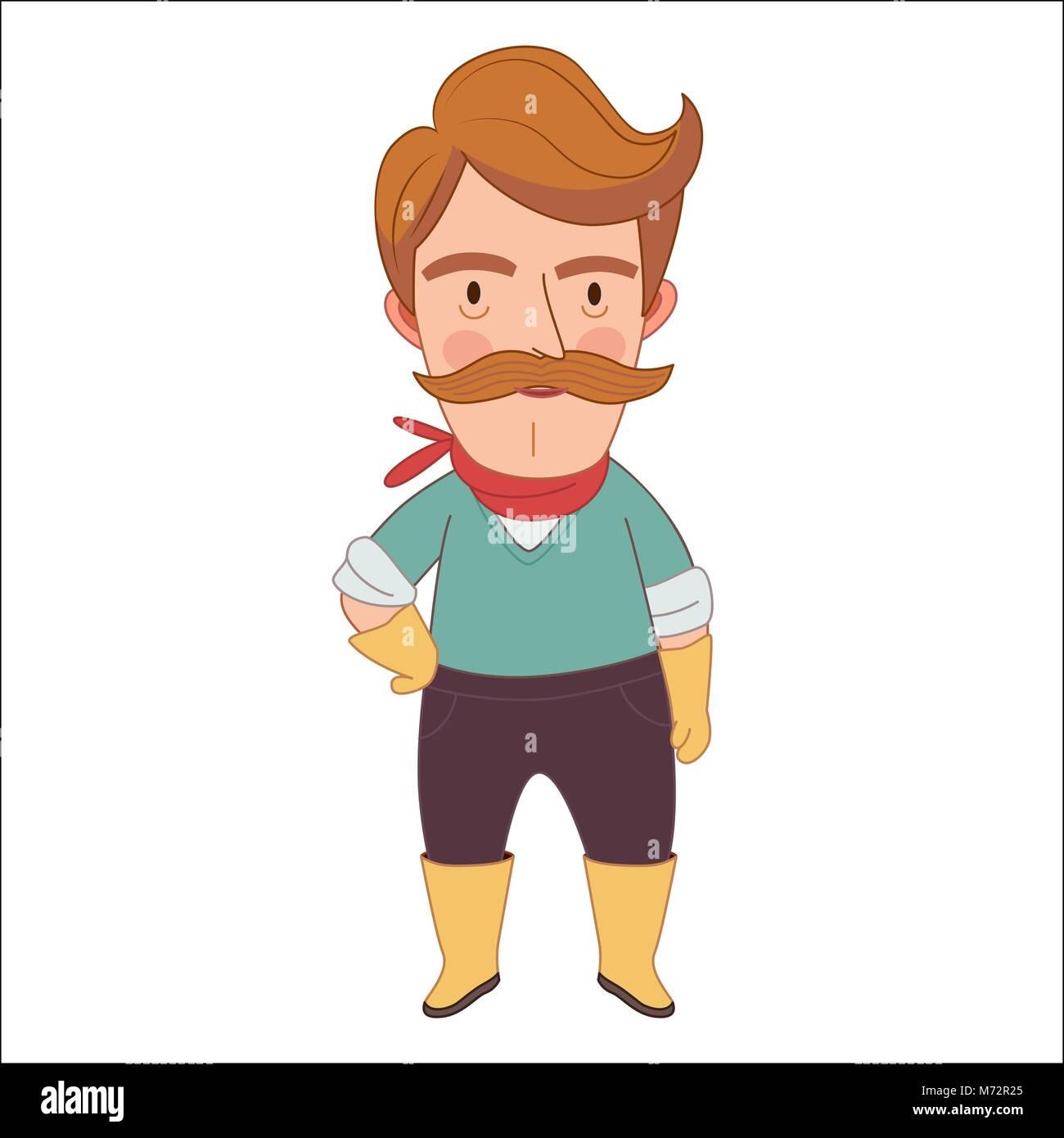Giardiniere cartoon illustrazione vettoriale un uomo di mezza