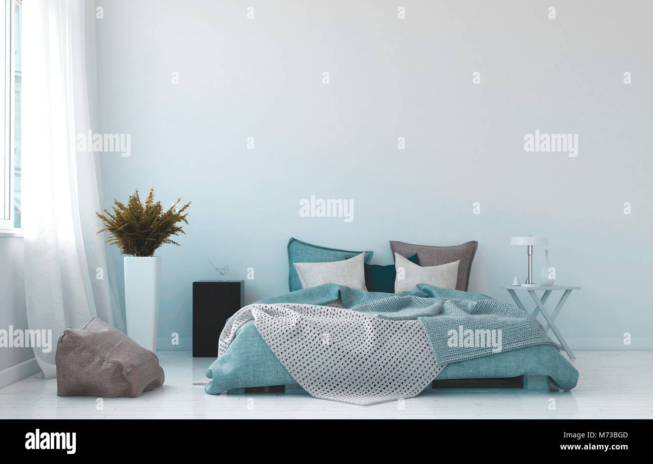 Cool blu e bianco interiore camera da letto con un