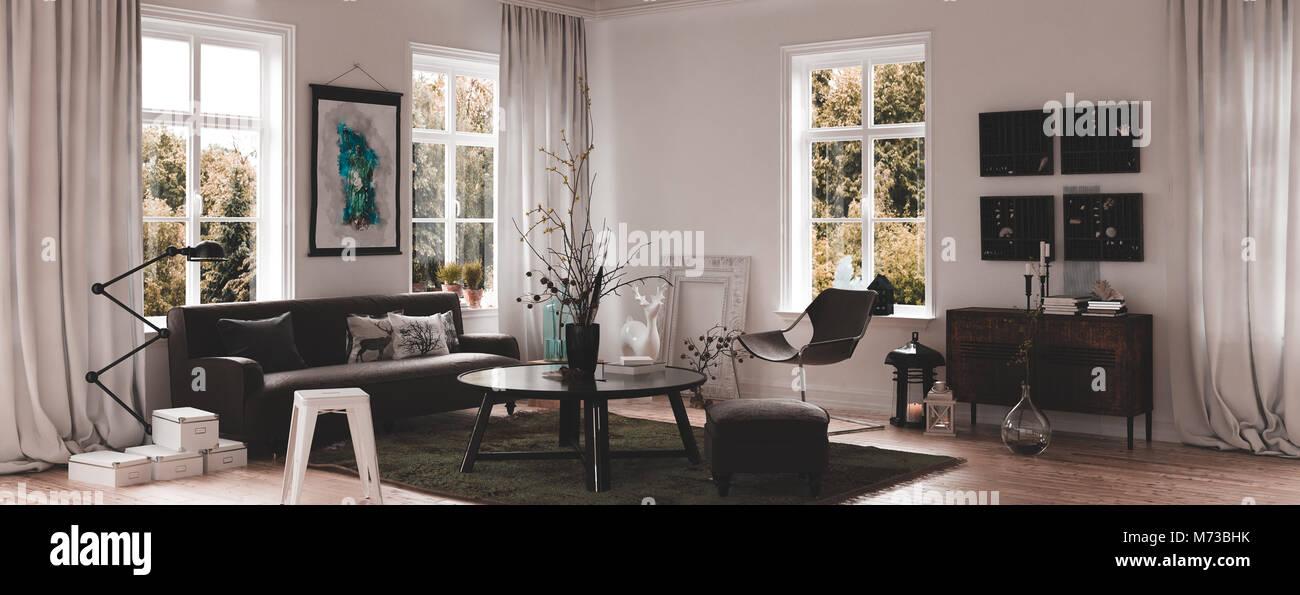 Arredamento Legno E Bianco.Panorama Vista D Angolo Di Un Moderno E Bianco Di Vita Lussuosa Sala