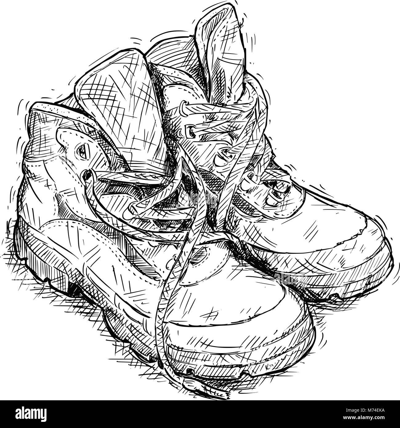 Vettore di disegno a mano della coppia di indossare scarpe