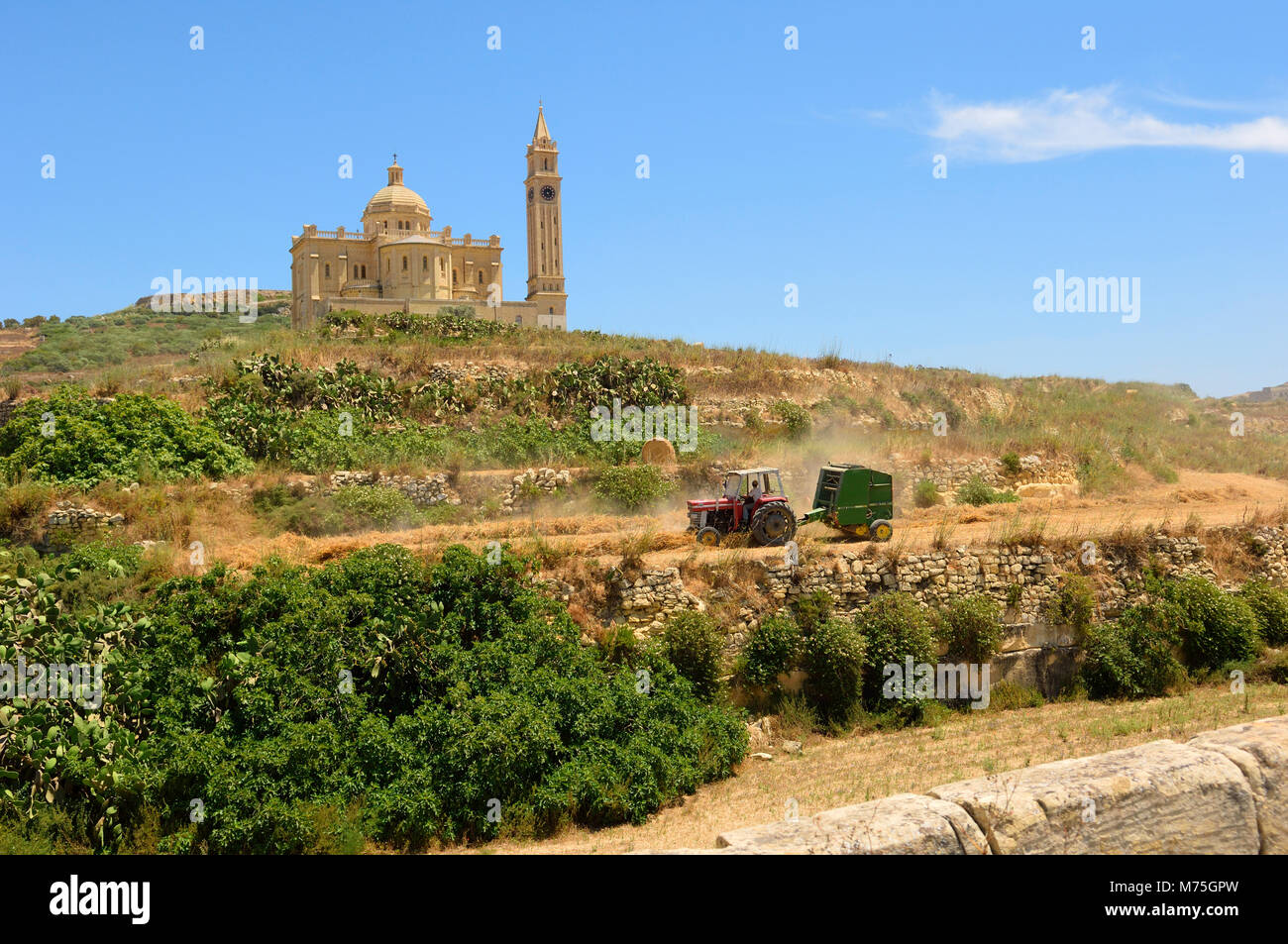 Ta' Pinu chiesa vicino a Gharb a Gozo, Malta, Europa Foto Stock