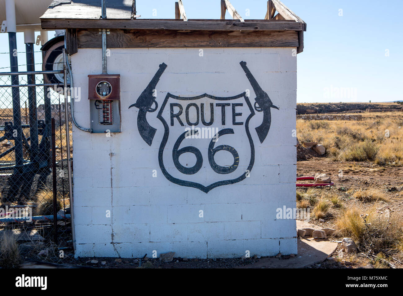 Due pistole, Route66 Immagini Stock