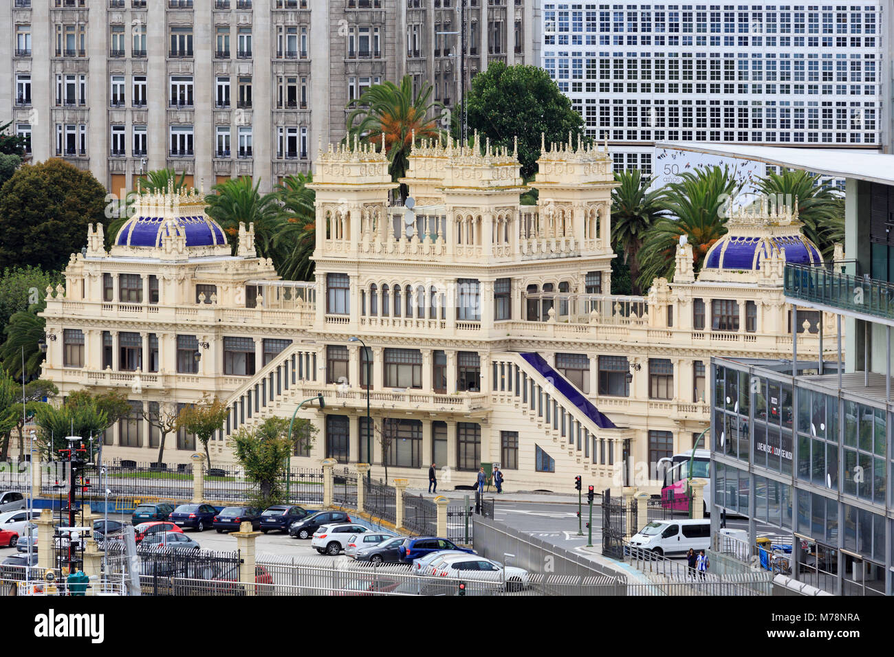Terraza Edificio, La Coruna City, Galizia, Spagna, Europa Immagini Stock