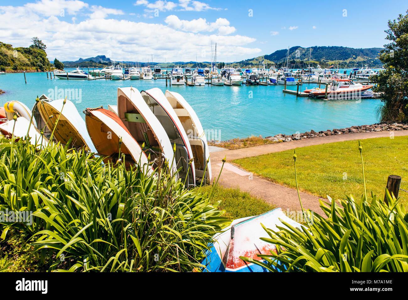Marina a Whangaroa, Isola del nord, Nuova Zelanda Immagini Stock