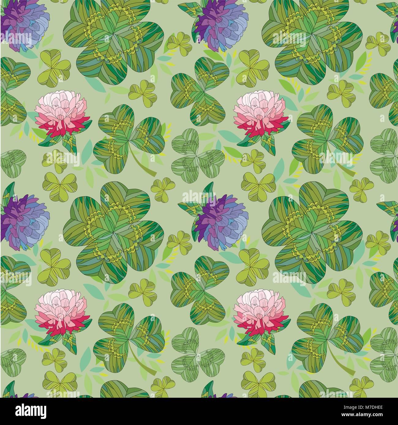 Seamless Trifoglio Naturale Sfondo Con Fiori Su Uno Sfondo Verde