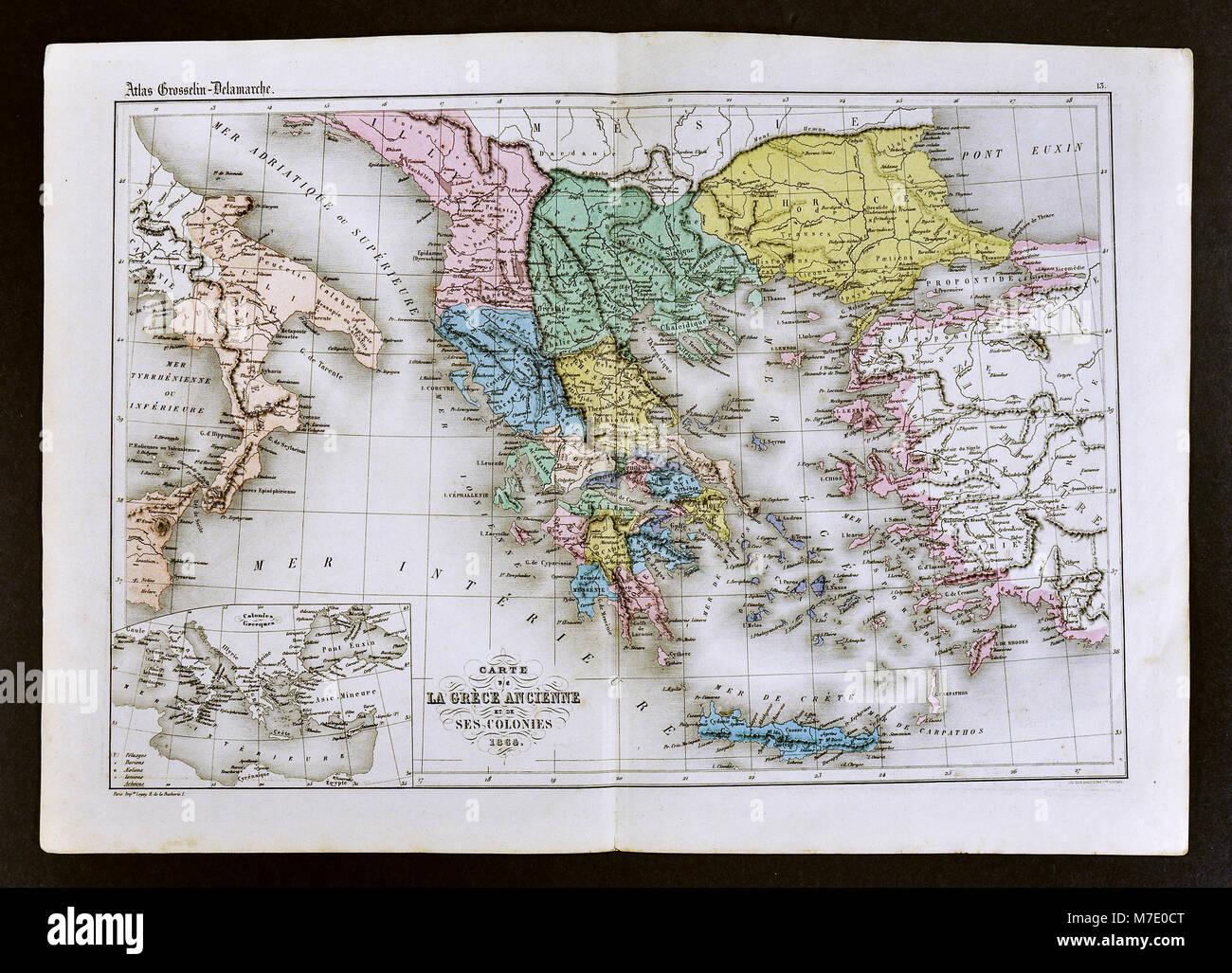 Cartina Della Grecia Antica In Italiano.1858 Delamarche Mappa Della Grecia Antica E Le Sue Colonie In Italia E Turchia Foto Stock Alamy