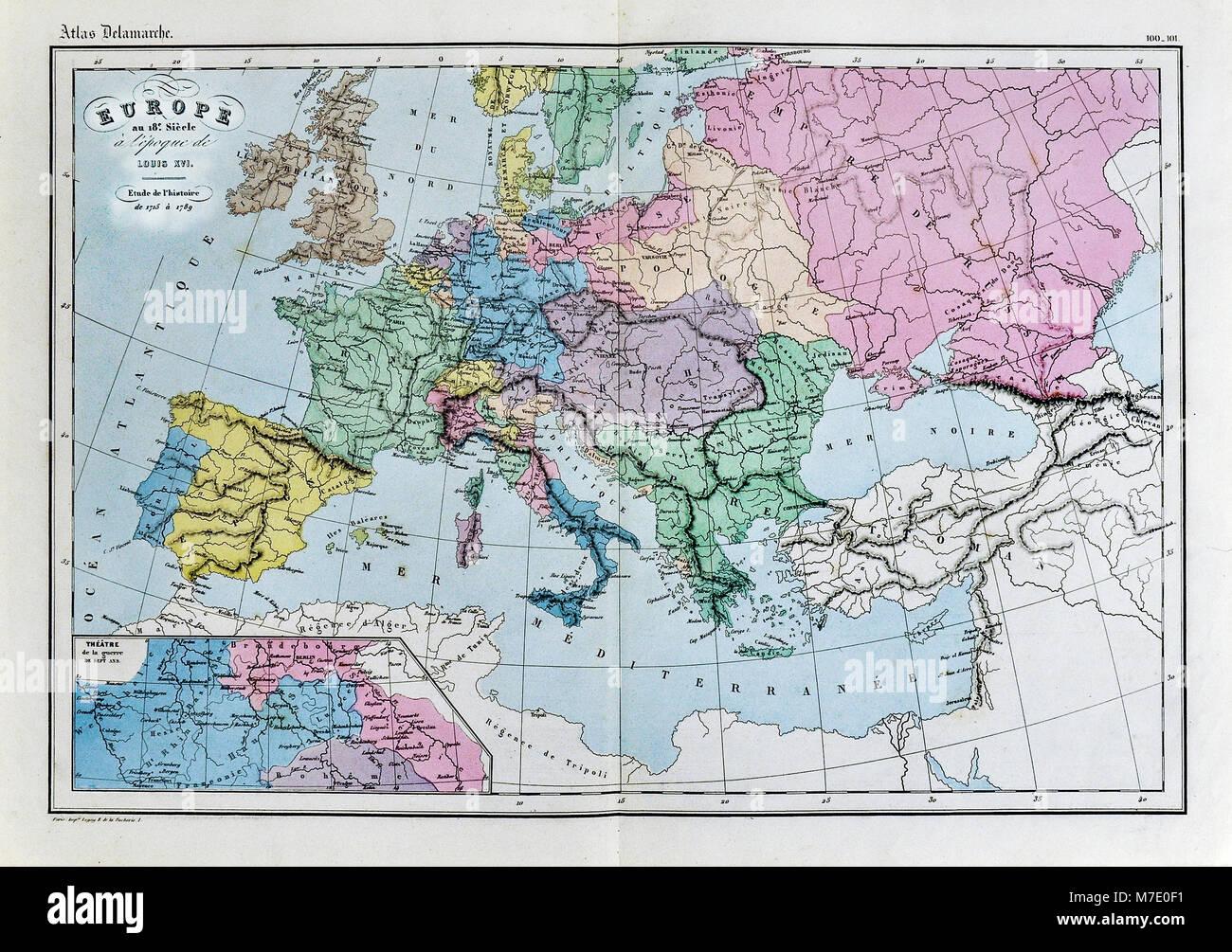 Cartina Storica Dell Europa.1858 Delamarche Mappa Storica Dell Europa Nel Xviii Secolo