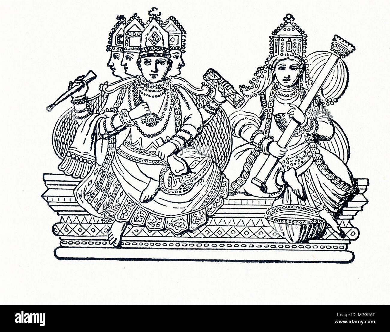 Questa illustrazione risale a circa 1898 e mostra la divinità Indù Brahma con Saraswati. In Hinduism, Immagini Stock