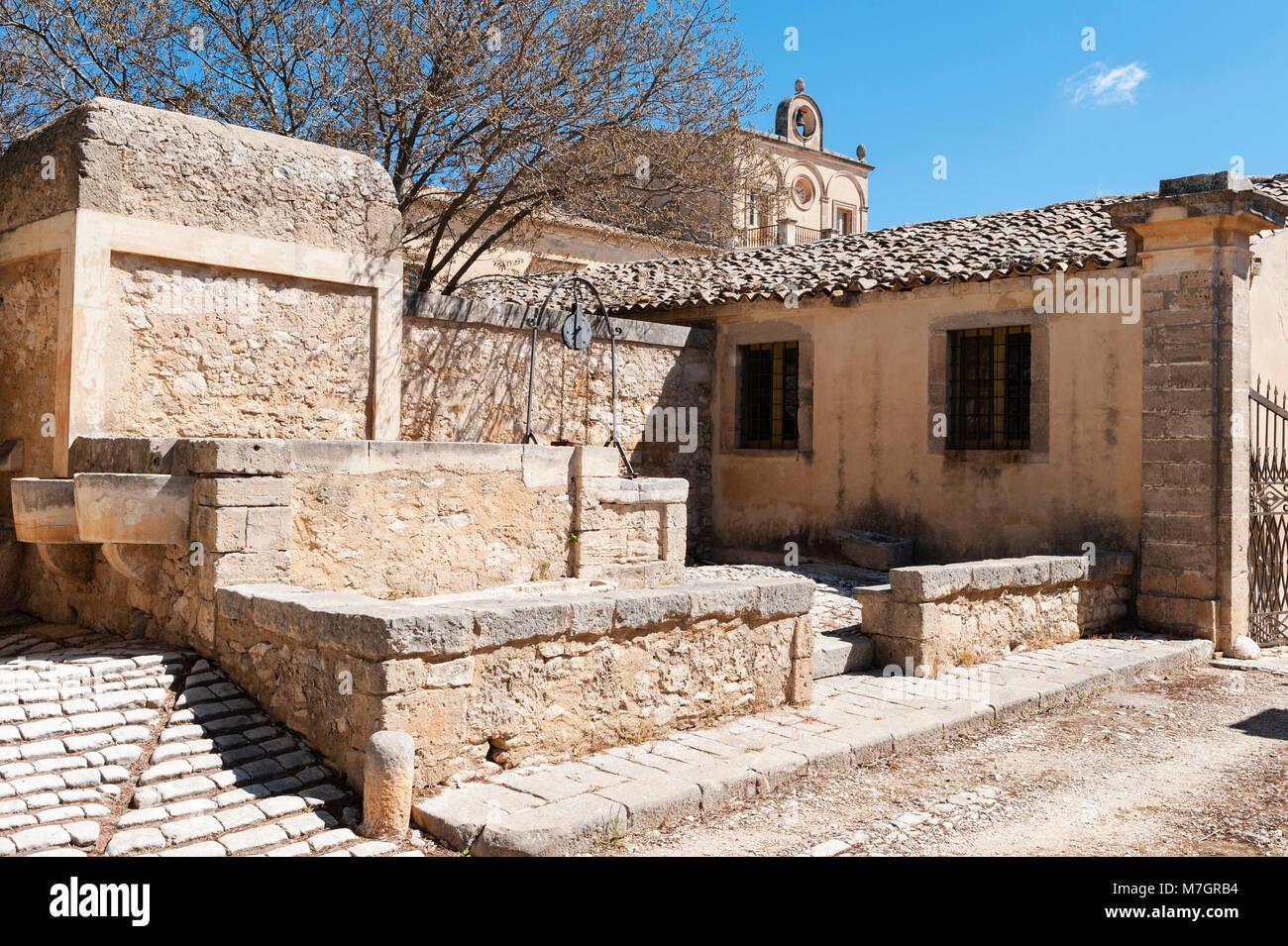 Chiaramonte Gulfi, Sicilia, Italia. Villa Fegotto (utilizzato come un luogo per l'ispettore Montalbano serie Immagini Stock