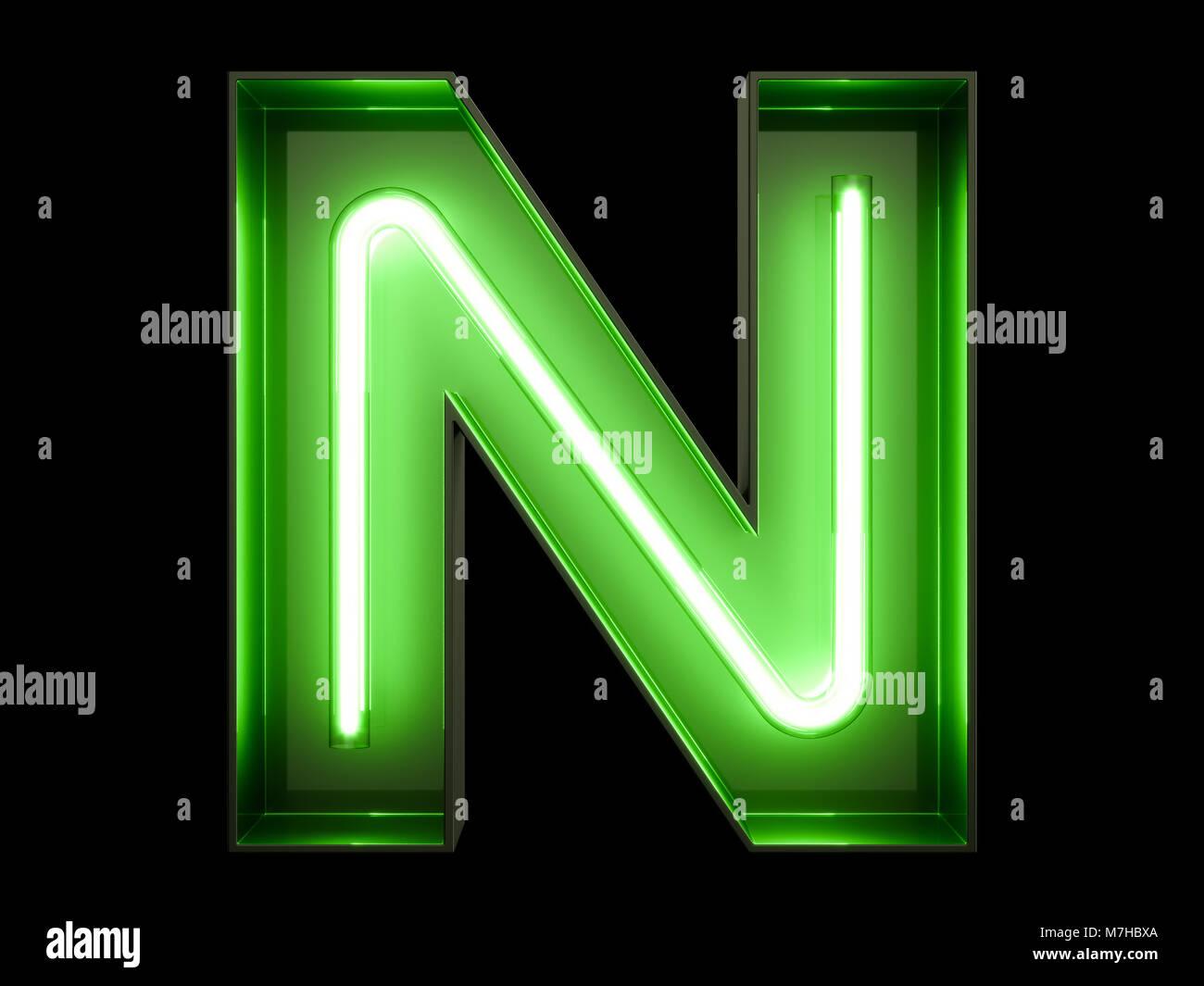 Il Neon Luce Verde Alfabeto Carattere Font N Tubo Al Neon Lettere