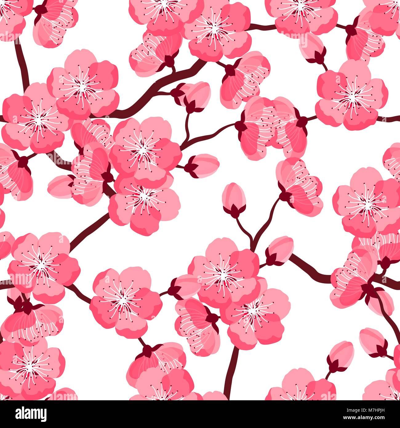 Il Giapponese Sakura Seamless Pattern Con Fiori Stilizzati Sfondo