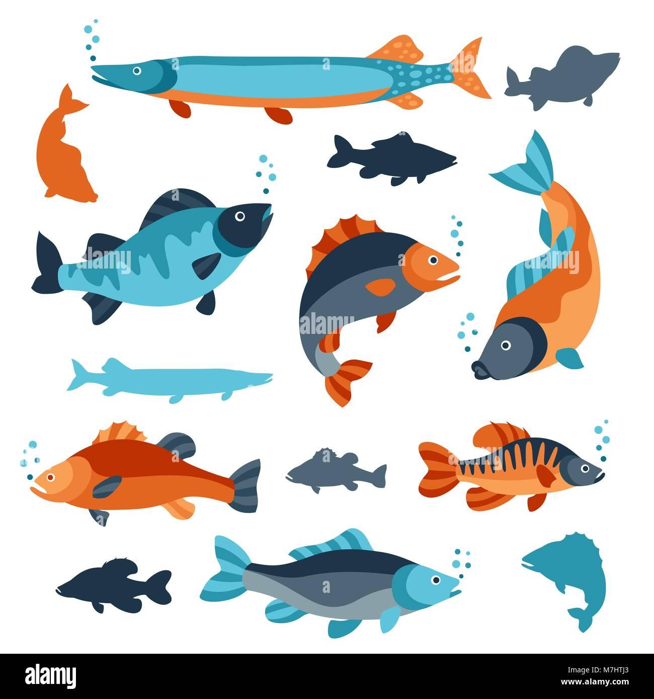 Set di vari tipi di pesci oggetti di decorazione design for Creare pesci