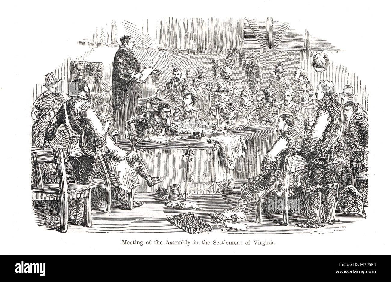 Riunione del gruppo, insediamento di Virginia, 1619, la prima assemblea della casa di Burgesses. La prima assemblea Immagini Stock