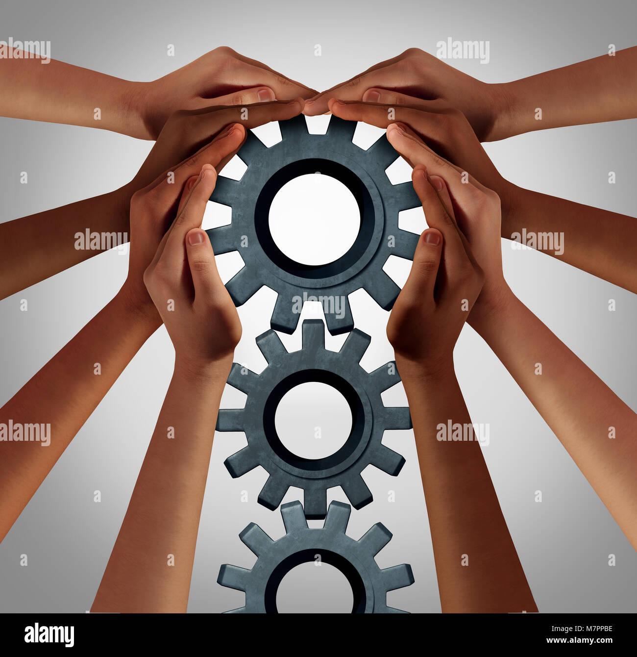 L'industria europea e la collaborazione aziendale nozione come un team di diverse persone la rotazione di un Immagini Stock