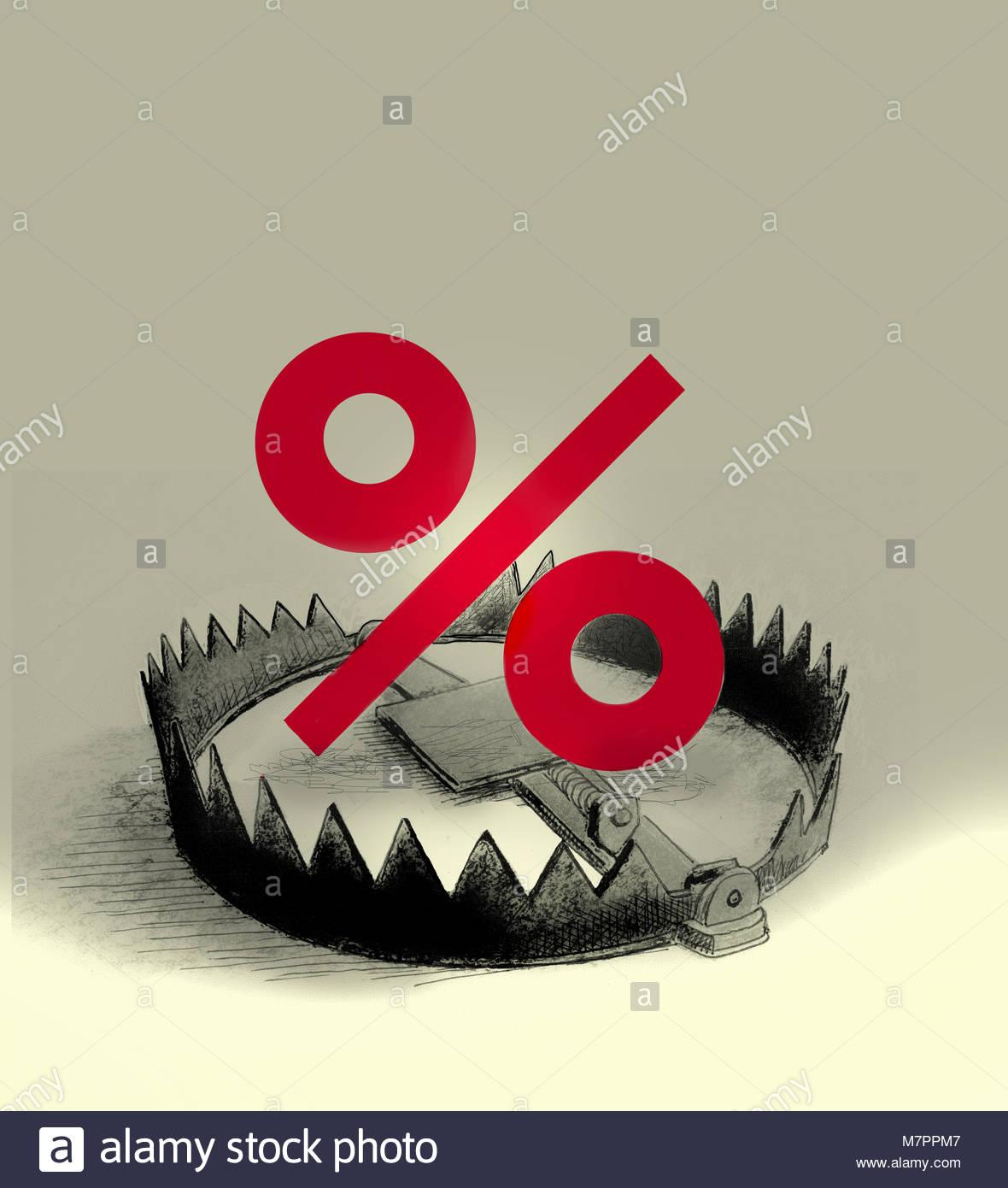 Segno di percentuale all'interno della trappola orso Immagini Stock