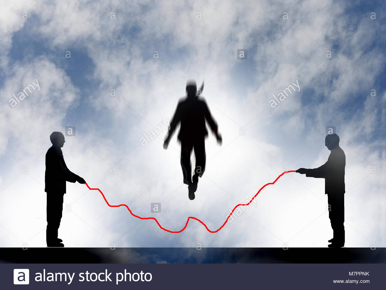Imprenditore saltando su linea grafico Corda Immagini Stock