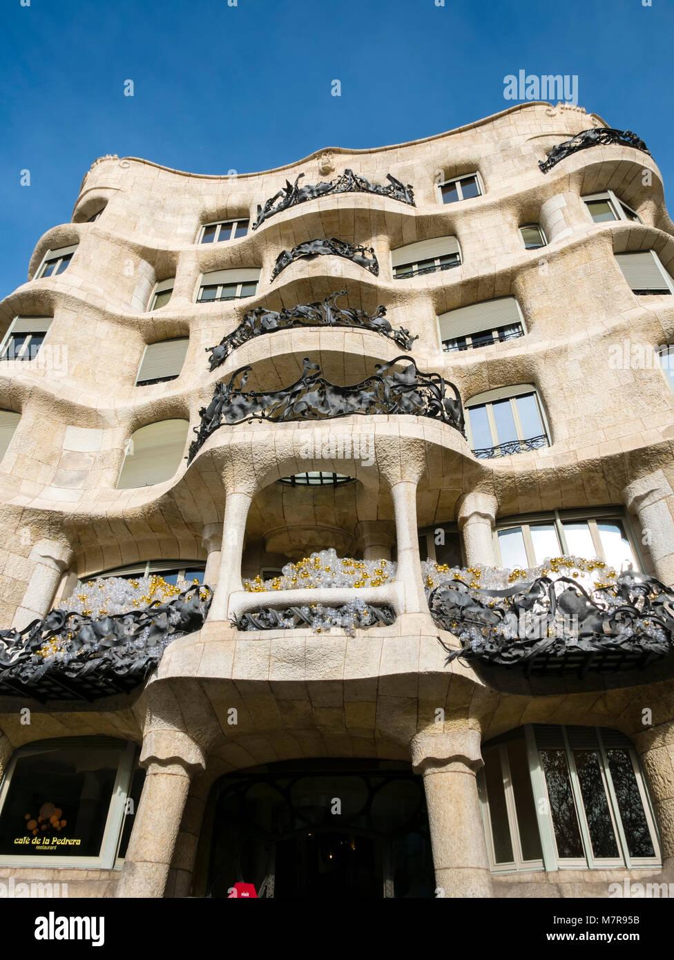 Casa Mila (La Pedrera), Barcellona, in Catalogna, Spagna. Immagini Stock