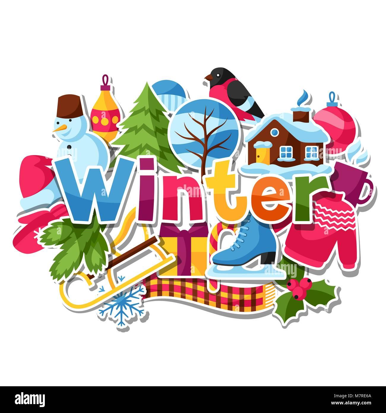 Adesivi Buon Natale.Sfondo Con Adesivi Per L Inverno Buon Natale E Felice Anno