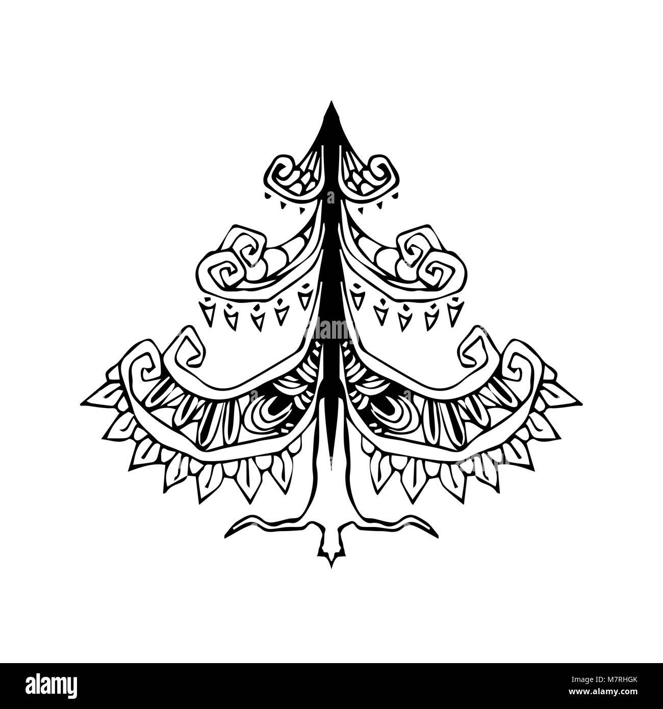 Stilizzato Decorativo Albero Di Natale Illustrazione Vettoriale Di