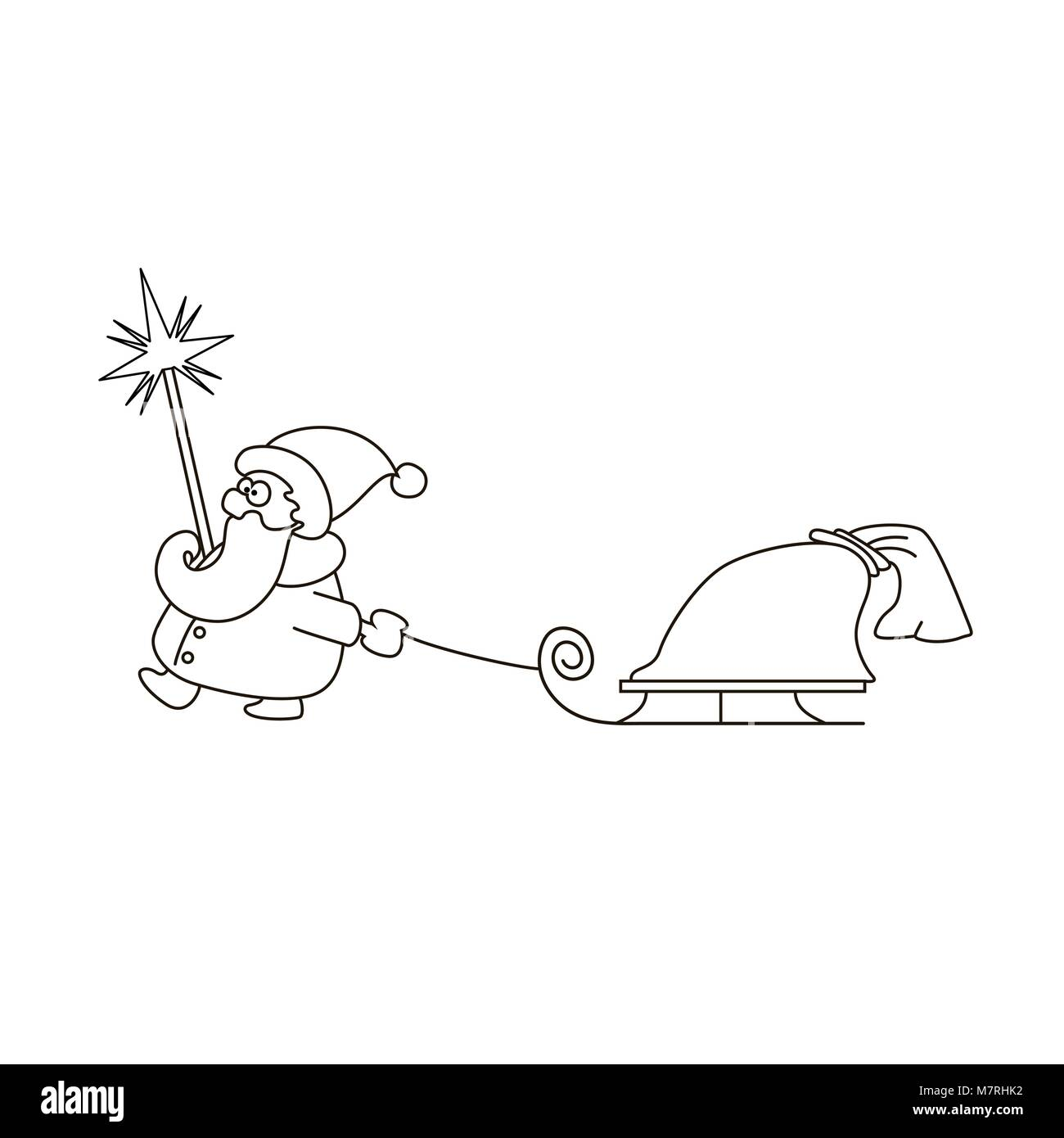 Illustrazione Vettoriale Lineare Di Babbo Natale Con La Slitta E La