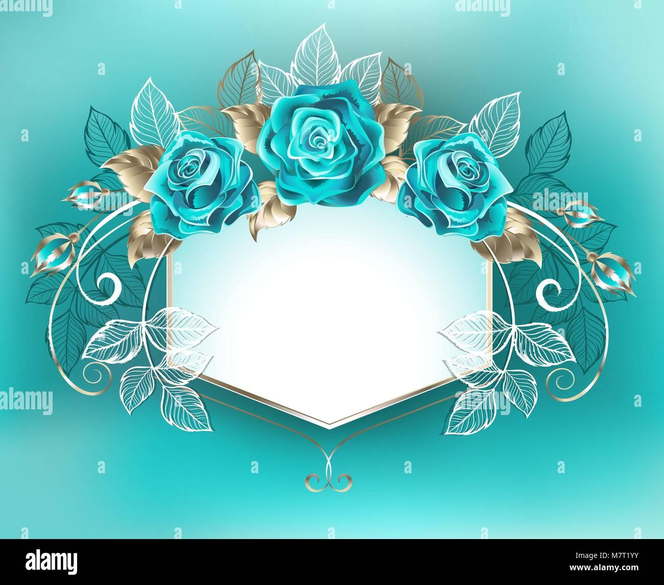 Banner Bianco Decorata Con Rose Di Color Turchese Con Foglie Di Oro