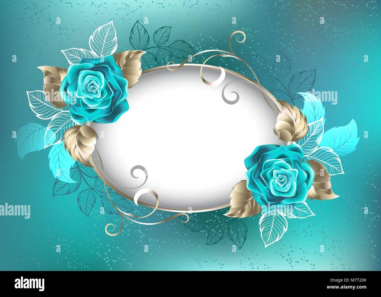 Ovale Luce Banner Decorata Con Turchesi Rose Con Foglie Di Oro
