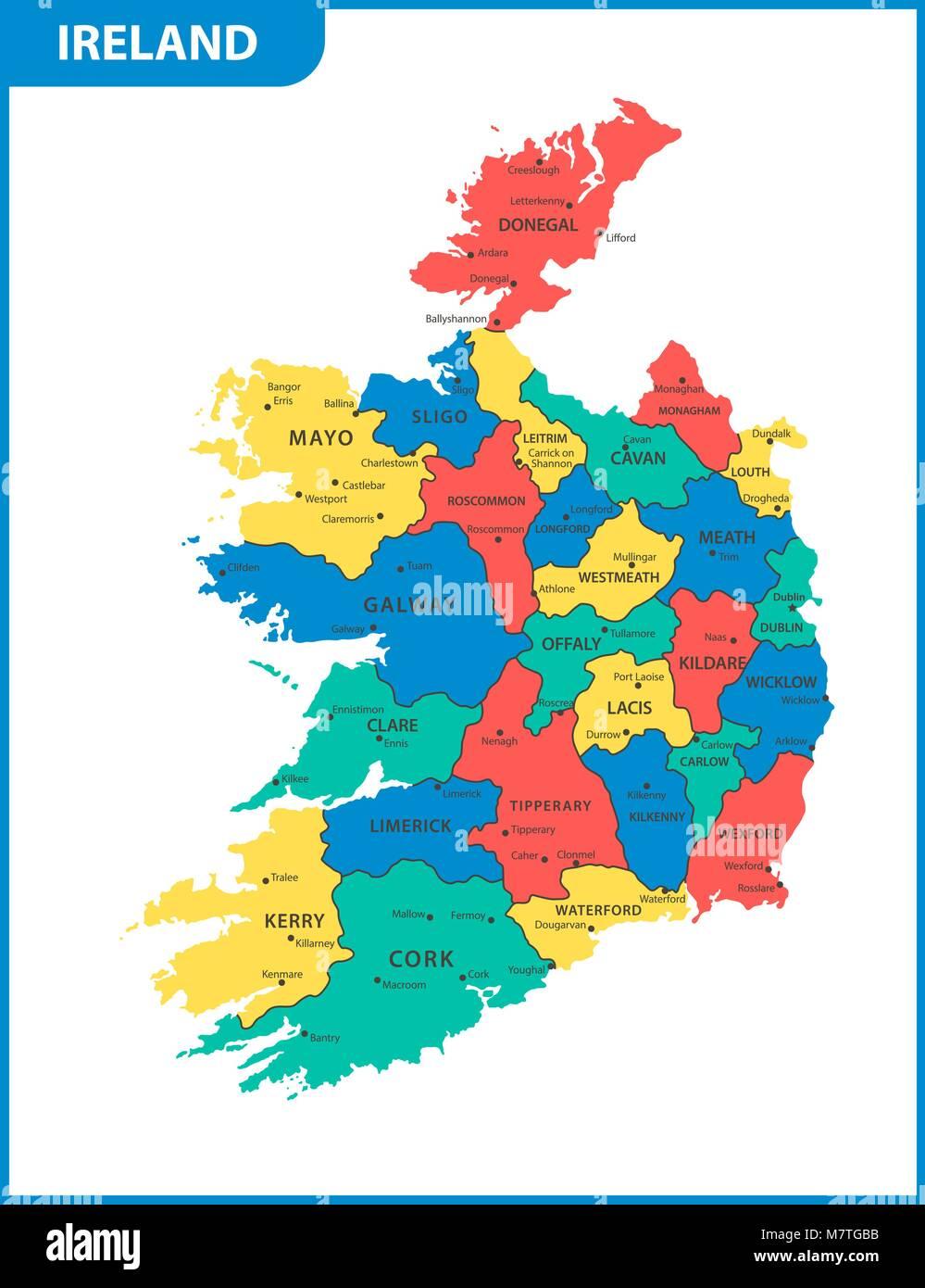 Cartina Geografica Dell Irlanda.La Mappa Dettagliata Dell Irlanda Con Le Regioni O Gli Stati E Le Citta Capitali Immagine E Vettoriale Alamy