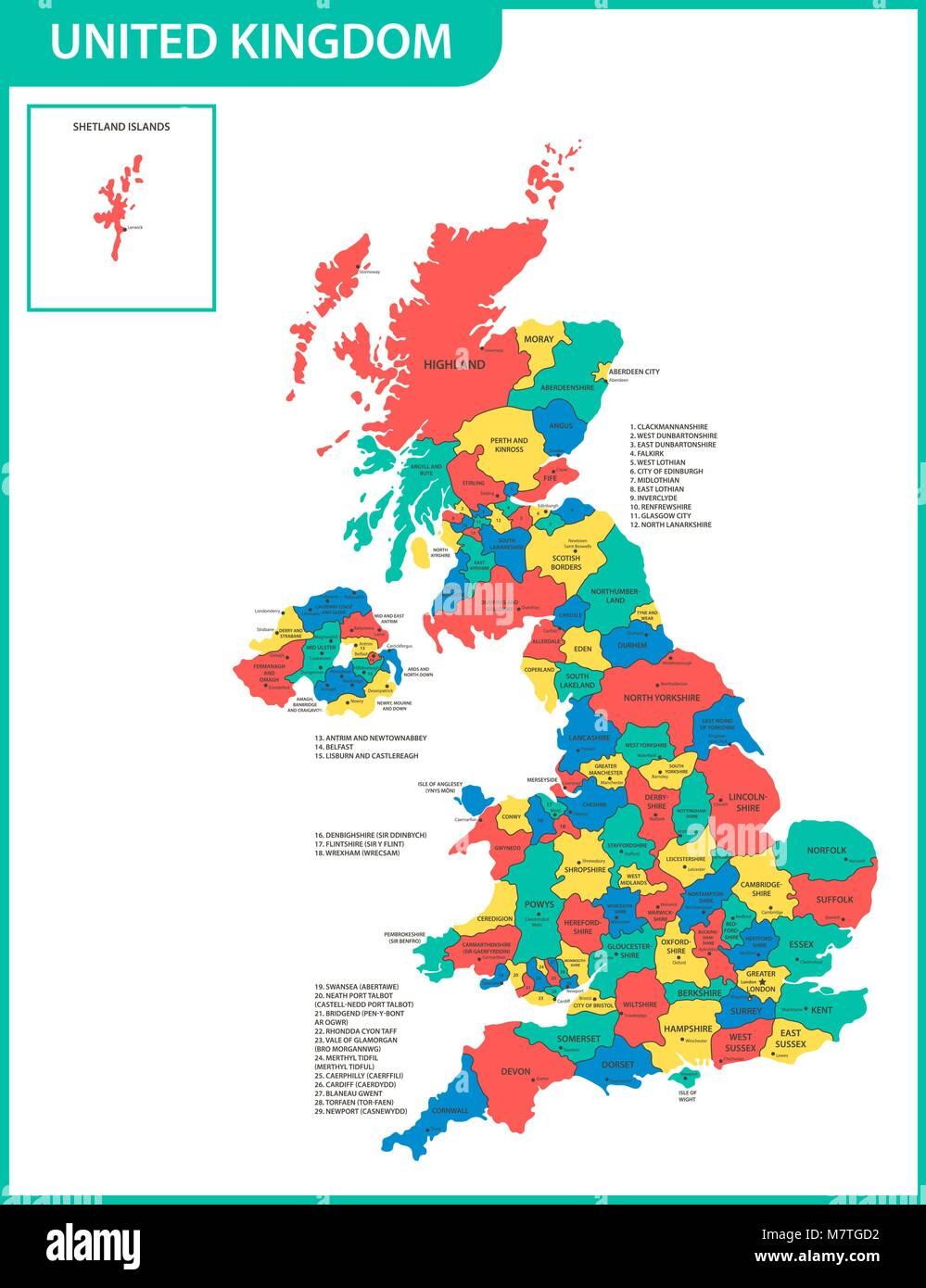 Cartina Gran Bretagna Regioni.La Mappa Dettagliata Del Regno Unito Con Le Regioni O Gli Stati E Le Citta Capitali Corrente Effettiva Pertinenti Regno Unito Gran Bretagna Devision Amministrativa Immagine E Vettoriale Alamy